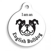 Beyaz English Bulldog Yuvarlak Köpek Künyesi