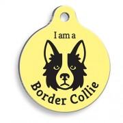 Sarı Border Collie Yuvarlak Köpek Künyesi