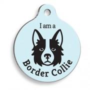 Mavi Border Collie Yuvarlak Köpek Künyesi