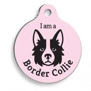 Pembe Border Collie Yuvarlak Köpek Künyesi