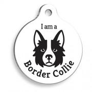 Beyaz Border Collie Yuvarlak Köpek Künyesi
