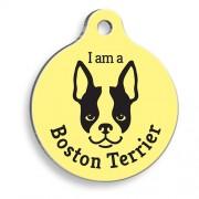 Sarı Boston Terrier Yuvarlak Köpek Künyesi