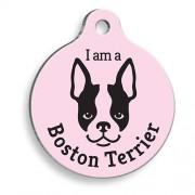 Pembe Boston Terrier Yuvarlak Köpek Künyesi