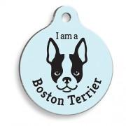 Mavi Boston Terrier Yuvarlak Köpek Künyesi