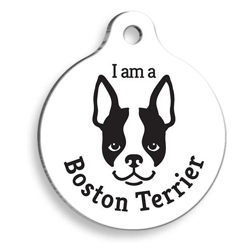 Beyaz Boston Terrier Yuvarlak Köpek Künyesi