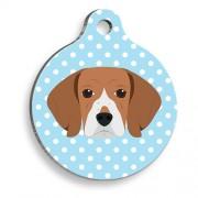 Mavi Puantiyeli Beagle Yuvarlak Köpek Künyesi