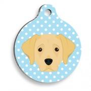 Mavi Puantiyeli Labrador Yuvarlak Köpek Künyesi