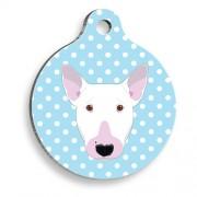 Mavi Puantiyeli Bull Terrier Yuvarlak Köpek Künyesi