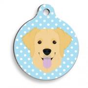 Puantiyeli Mavi Golden Retriever Yuvarlak Köpek Künyesi