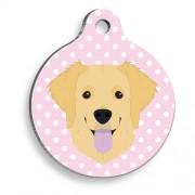 Puantiyeli Pembe Golden Retriever Yuvarlak Köpek Künyesi