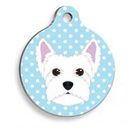 Mavi Puantiyeli Batı Highland Beyaz Terrier Yuvarlak Köpek Künyesi
