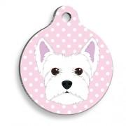 Pembe Puantiyeli Batı Highland Beyaz Terrier Yuvarlak Köpek Künyesi