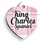 King Charles Spaniel Ekoseli Kalp Şekilli Köpek Künyesi