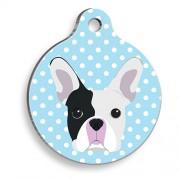 Mavi Puantiyeli Boston Terrier Yuvarlak Köpek Künyesi