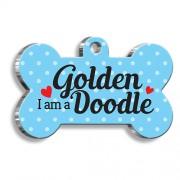 Goldendoodle Mavi Kemik Şekilli Köpek Künyesi