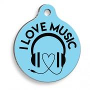 Müziği Seviyorum Yuvarlak Kedi ve Köpek Künyesi