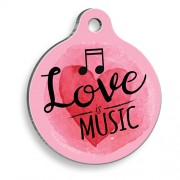 Pembe Love Music Yuvarlak Kedi ve Köpek Künyesi