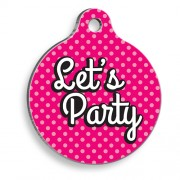 Let's Party Pembe Yuvarlak Kedi ve Köpek Künyesi