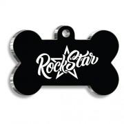 Rock Star Siyah Kemik Şekilli Köpek Künyesi